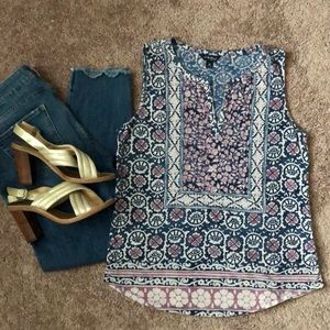 Lucky Brand Floral Sleeveless Top M